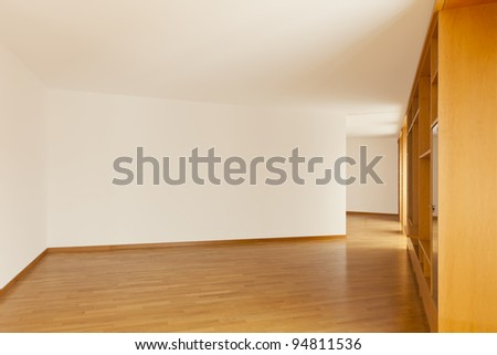 beautiful apartment, interior, wall cabinet in empty room