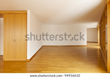 beautiful apartment, interior, wall cabinet in empty room - stock photo