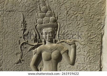 Beautiful Apsara Dancers Stone Carving, Angkor Wat, Cambodia - stock photo