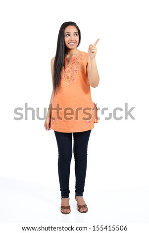 Beautiful arab casual woman pointing above presenting isolated on a white background               - stock photo