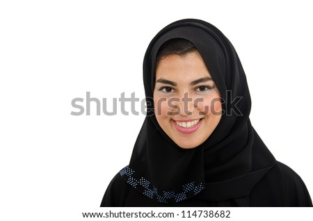 Beautiful Arab Female Wearing Abaya - stock photo