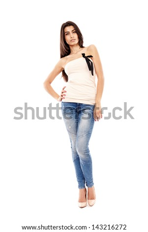 Beautiful Arab girl isolated on white, full length portrait - stock photo
