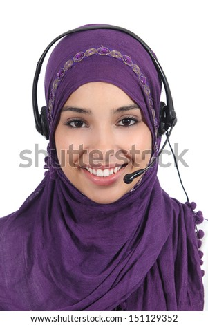 Beautiful arab woman operator with headset isolated on a white background              - stock photo
