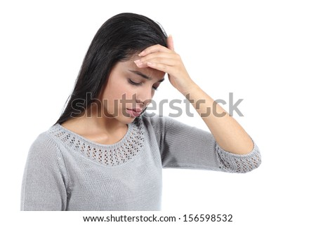 Beautiful arab woman with headache and the hand over forehead isolated on a white background - stock photo