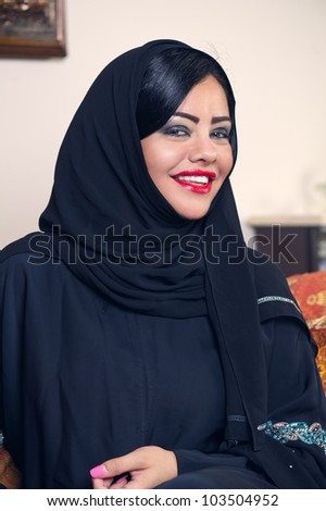 beautiful arabian lady wearing hijab - stock photo