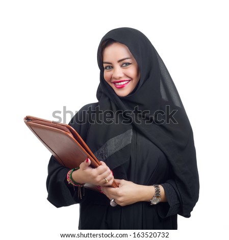 Beautiful Arabian woman holding a folder isolated on white - stock photo