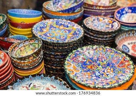 beautiful arabic plates selling on a eastern market - stock photo