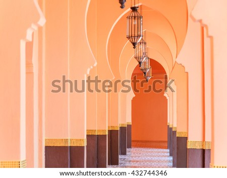 Beautiful Architecture and lantern light lamp with morocco style, selective focus. - stock photo