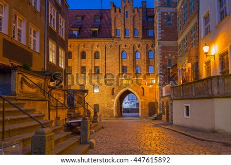Beautiful architecture of Mariacka (St. Mary) street in Gdansk at night, Poland - stock photo