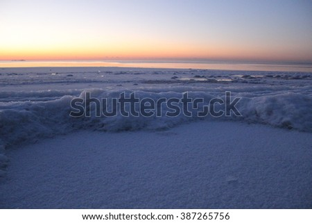 Beautiful arctic sunset on the ocean.