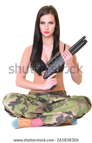 Beautiful army girl - stock photo