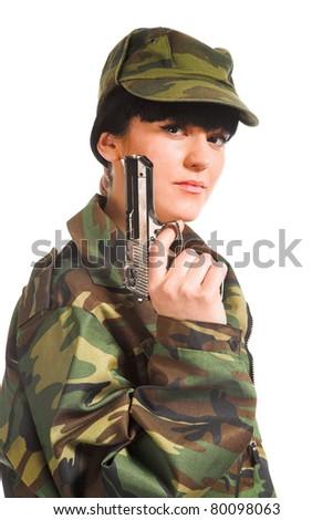 beautiful army girl holding gun isolated background - stock photo