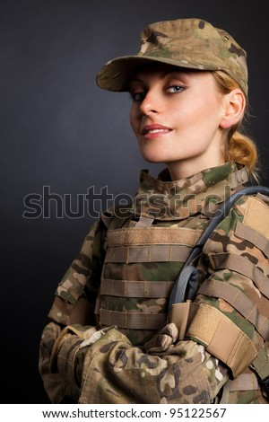 Beautiful army girl isolated on a white - stock photo