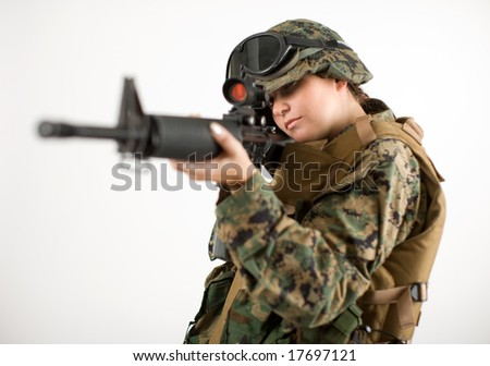 Beautiful army girl. Uniform conforms to special services (soldiers) of the NATO countries.