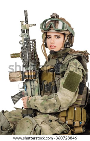 Beautiful army ranger girl with rifle isolated on white - stock photo