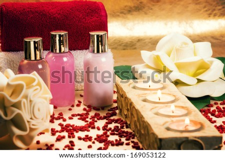 Beautiful arranged spa elements. - stock photo