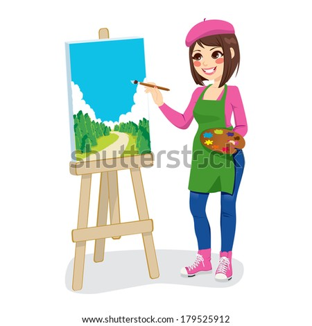Beautiful artist woman painting green park on canvas - stock photo