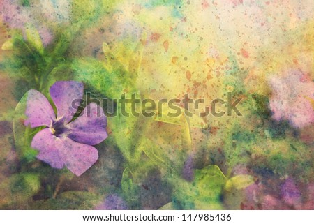 beautiful artwork with lilac flower and splashes of watercolor - stock photo