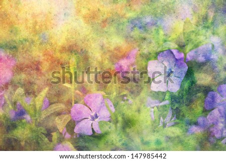 beautiful artwork with lilac flowers and watercolor strokes - stock photo