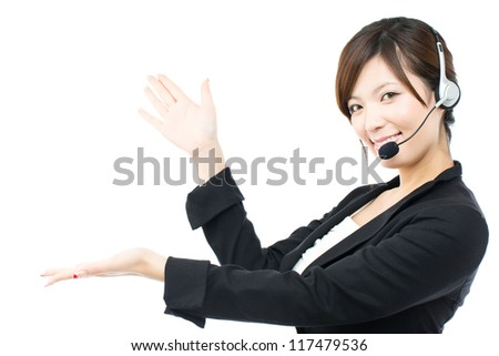 Beautiful asian business operator on white background - stock photo