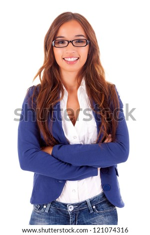 Beautiful asian business woman, isolated over white background - stock photo