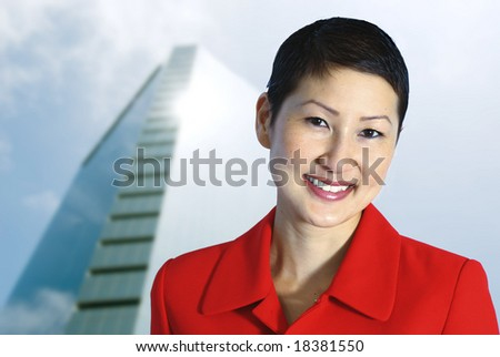 Beautiful Asian Businesswoman in Power Red. - stock photo