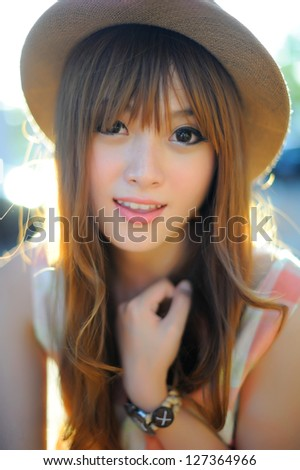 Beautiful asian girl - stock photo