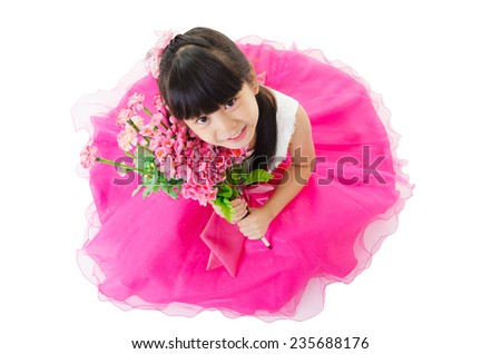 Beautiful asian girl holding flowers and looking up. Isolated on white background - stock photo