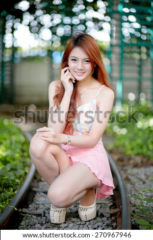 Beautiful asian girl in park