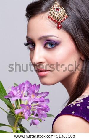 Beautiful asian girl with bridal makeup - stock photo