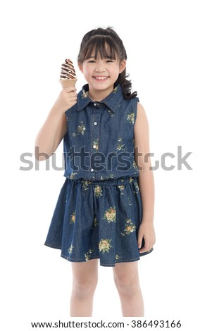 Beautiful Asian girl with ice cream on white background isolated