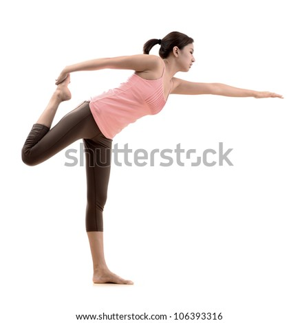 beautiful asian girl with yoga pose on white background - stock photo