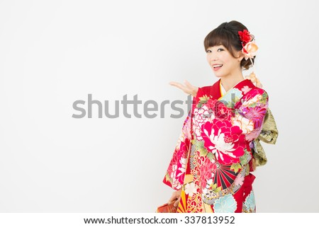 Beautiful asian kimono woman on white background  - stock photo