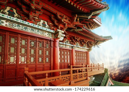 Beautiful asian temple on the blue sky background - stock photo