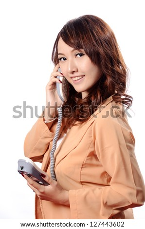 Beautiful asian woman business operator with isolated on white background - stock photo