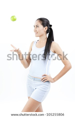 Beautiful asian woman hold apple in her hand on white background