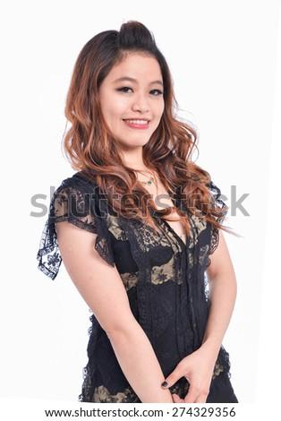 Beautiful asian woman smiling - stock photo