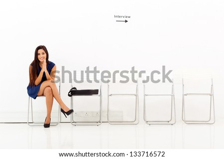 beautiful asian woman waiting for employment interview - stock photo