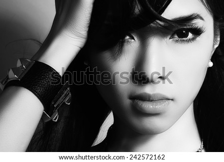 beautiful asian woman with perfect skin in black and white - stock photo