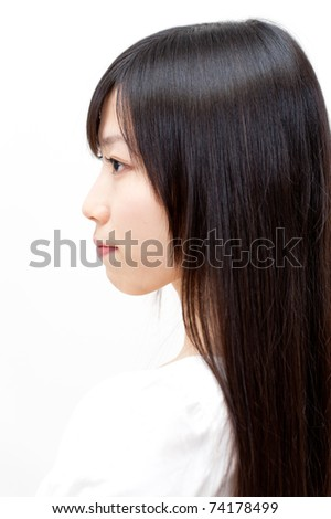 beautiful asian woman with straight long hair - stock photo