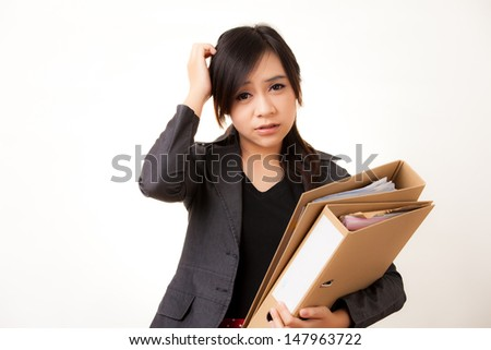 Beautiful Asian working woman - stock photo