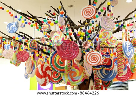 Beautiful assorted candies display - stock photo