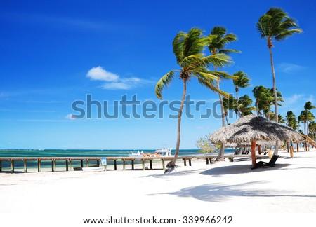 Beautiful at sandy tropical beach in Punta Cana, Bavaro - stock photo