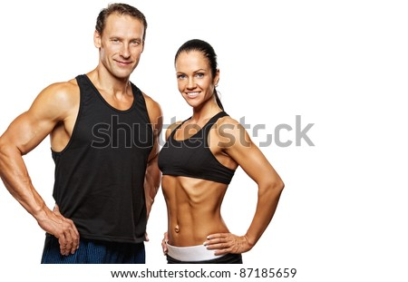 Beautiful athletic couple. - stock photo