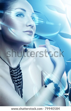 beautiful attractive woman with accessorize and virtual interface - stock photo