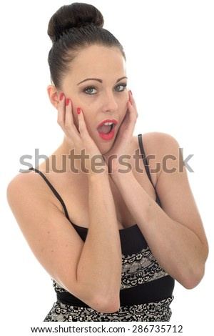 Beautiful Attractive Young Caucasian Woman Holding Her Head In Her Hand Looking Shocked and Surprised Against White - stock photo