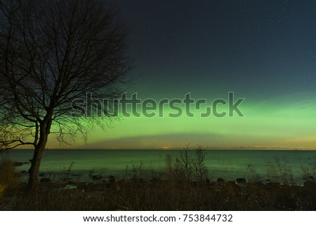 Beautiful aurora borealis over water on a clear November sky. Northern lights in Estonia.