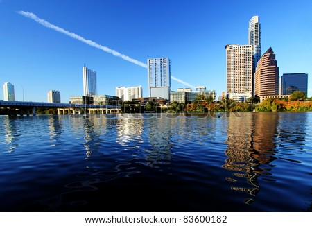 Beautiful Austin skyline from the shores of Lady Bird Lake