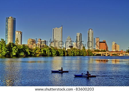 Beautiful Austin skyline reflection on Lady Bird Lake - stock photo