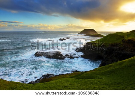 Beautiful Australian Coast. Phillip Island, Victoria. Sunset. - stock photo